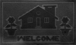 Коврик домик Welcome чёрный 400х600 мм